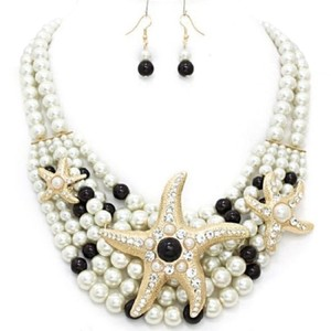Nautical Beach Crystal Starfish Pearl Necklace and Earring