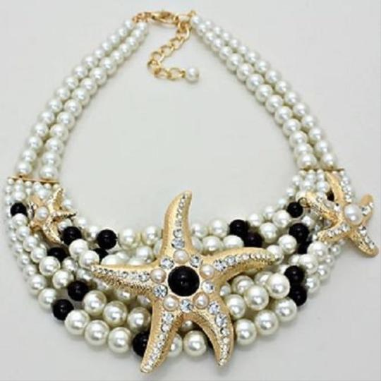 Other Nautical Beach Crystal Starfish Pearl Necklace and Earring