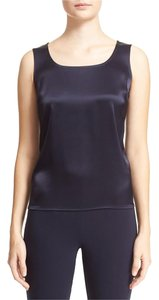 St. John Liquid Satin Shell Silk Sleeveless Top MIDNIGHT