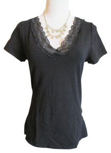 H&M Lace V-neck T Shirt Black