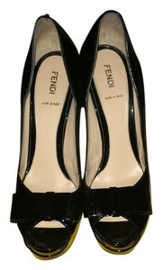 Fendi Deco Patent Leather Peep Toe Black Platforms