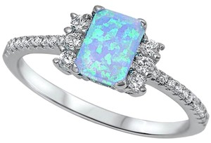 9.2.5 stunning blue opal and white sapphire cocktail ring size 8