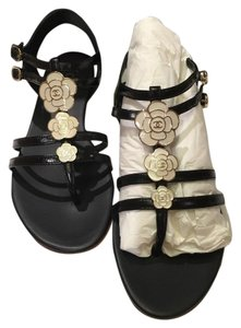 Chanel Thongs black white Sandals