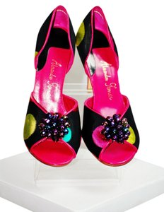 Alexander Thomas Jacquard Fabric Multi-colored Opent Toe Leather Sole Leather Trim New In Box Black Sandals