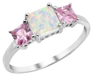 9.2.5 Sterling Silver Opal and Pink Gemstone Ring