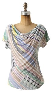 Anthropologie Pastel Cowl Neck T Shirt Multi