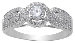 9.2.5 stunning white sapphire princess halo cocktail ring size 8