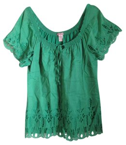 Anthropologie Embroidery Scoop Neck Peasant Top Green