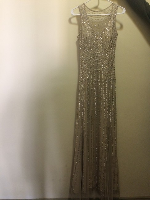 Item - Light Beige and Gold Polyester 05445630 Formal Wedding Dress Size 0 (XS)