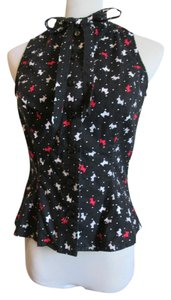 Mandie Bee Novelty Print Dogs 1950s Pin-up Top Black, White, Red