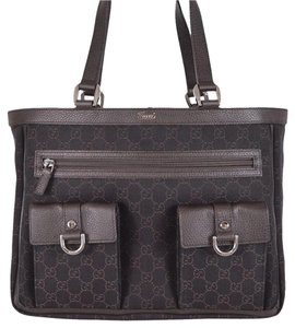 Gucci Abbey Silver Hardware Leather Trim Accents Dual Straps Tote in Brown