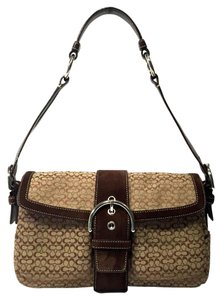 Coach Signature Suede Medium Monogram Casual Shoulder Bag