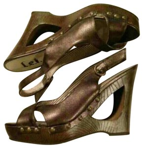 L.E.I. Studded Strappy Chunky Brown Bronze Wedges