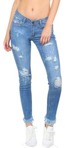 Other Distressed Frayed Denim Fringe Bottoms Skinny Jeans-Distressed