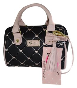 Betsey Johnson Mini Black Blush Trim Cross Body Bag
