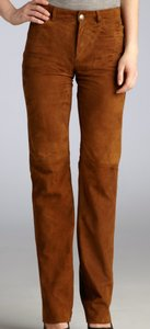 Loro Piana Luxurious Italian Straight Pants Gold/Tan Suede