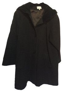 Albert Nipon Wool Velvet Swing Trapeze Hood Warm Stylish Trench Coat