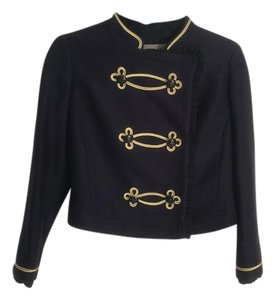 Jigsaw Gold Blue Cropped Military Jacket