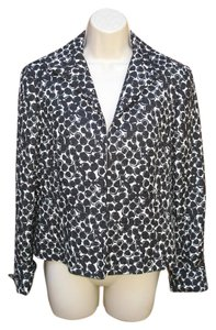 Lafayette 148 New York Cuffed Cotton Silk Black Cream Blazer