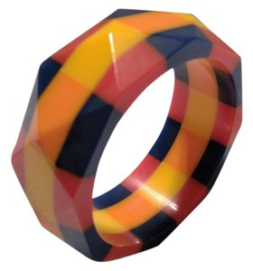 Red,Blue,Yellow,and Orange Lucite Checkered Bangle Bracelet