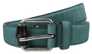 Gucci Leather/Suede Belt with Bamboo Buckle 336827 Teal suede 4715 95/38