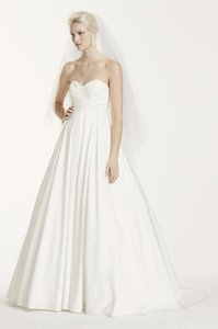 David's Bridal Pleated Strapless Wedding Dress With Empire Waist Wedding Dress