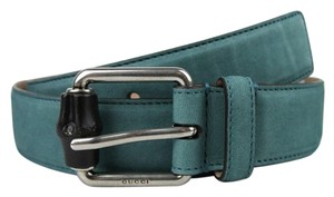 Gucci Leather/Suede Belt with Bamboo Buckle 336827 Teal suede 4715 105/42