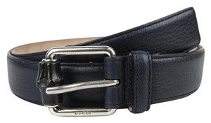 Gucci Leather/Suede Belt with Bamboo Buckle 336827 Blue Leather 4009 110/44