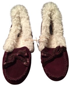 American Eagle Outfitters Cow Suede Beaded Bow Faux Fur Purple Mules