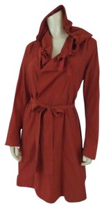 Eileen Fisher Tie Waist Hoodie Burnt Orange Jacket