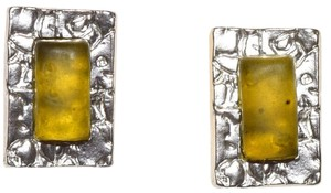 Other Hammered Pewter Resin Rectangle Glamour Earrings