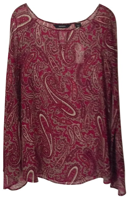 Express Top dark red, multi-colored paisley