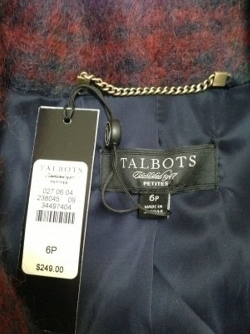 Talbots Maroon and blue muted plaid Blazer
