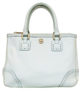 Tory Burch Double Zip Saffiano Robinson Perforated Satchel in Mint