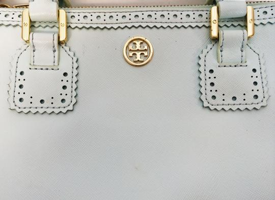Tory Burch Double Zip Saffiano Robinson Perforated Satchel in Mint Image 10
