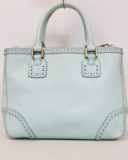 Tory Burch Double Zip Saffiano Robinson Perforated Satchel in Mint Image 11