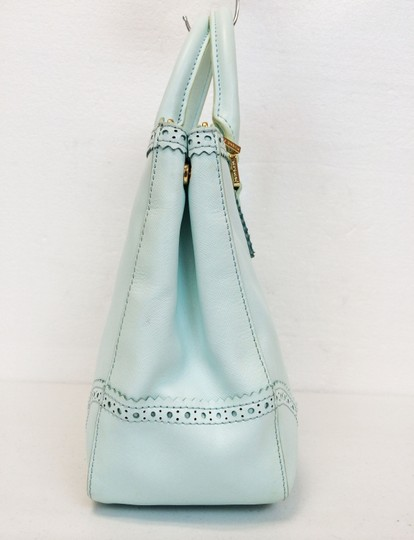 Tory Burch Double Zip Saffiano Robinson Perforated Satchel in Mint Image 2