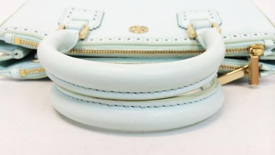 Tory Burch Double Zip Saffiano Robinson Perforated Satchel in Mint Image 5