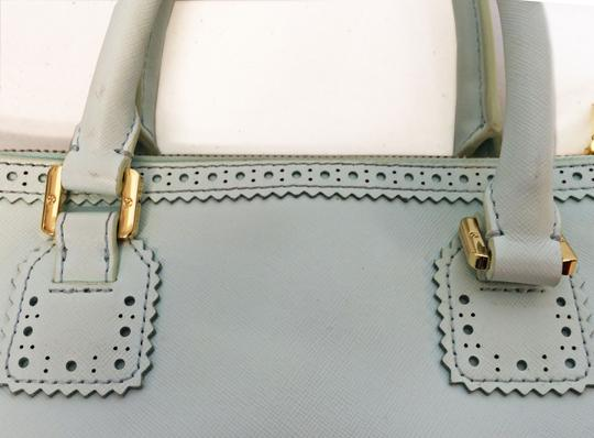 Tory Burch Double Zip Saffiano Robinson Perforated Satchel in Mint Image 6