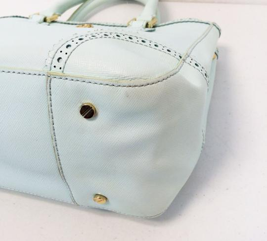 Tory Burch Double Zip Saffiano Robinson Perforated Satchel in Mint Image 9