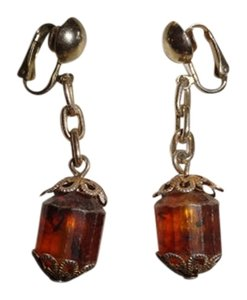 Vintage Vintage Rare Clip on brown stone earrings 2 inch length
