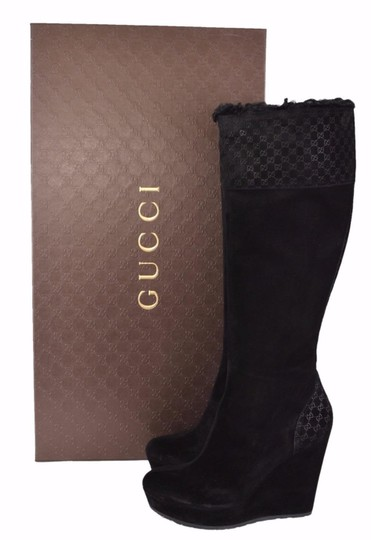 a3a8b7960 Gucci Black Women's 296265 Suede and Shearling Gg Courteney Platform ...