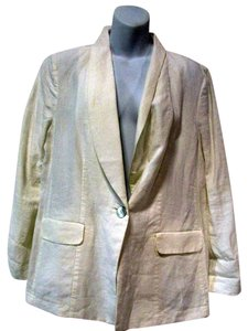 J. Jill One Button Long Sleeve White Blazer