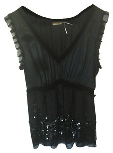 Max Studio Beads Velvet Silk Rhinestones Sequin Top Black