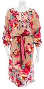 Tibi Floral Pink Green Silk Dress