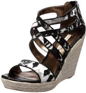Twelfth St. by Cynthia Vincent Abstract Espadrille Print Platform Black, Grey, White Wedges