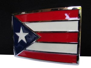 Other New Trendy Western Men Big Silver Puerto Rico Flag Blue Red Metal Square Buckle