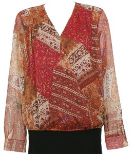 Lauren Ralph Lauren Crinkle Patchwork Surplice Top Multicolor