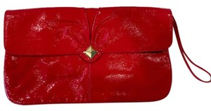 Franchi Patent Envelope Studded Red Clutch
