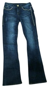 Rock & Republic Studded Gold Rivets Embroidery Flare Leg Jeans-Dark Rinse